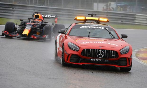 Max Verstappen declared winner of farcical Belgian GP as rain plays havoc